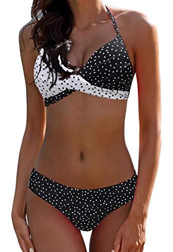 (tengweng Women's Sexy Halter Padded Push Up Bikini Set Two Pieces Swimsuit Vintage Swimwear Bathing Suit L Black)
