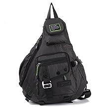 "Nicgid 14.1""Large Sling Bag Backpack Hiking Crossbody Bags For Ipad Tablet(Black)"