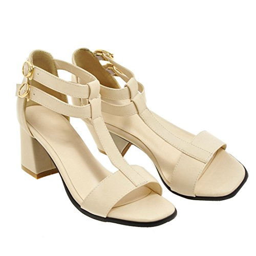 AIYOUMEI Damen Offen Blockabsatz T-spangen Sandalen mit 6cm Absatz Chunky Heel Bequem Pumps Sommer Schuhe Beige