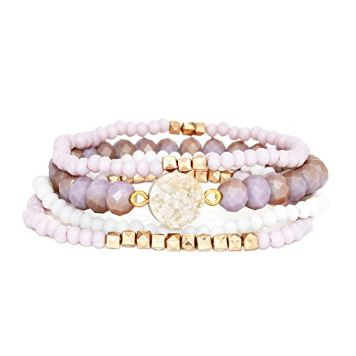 Stackable Multi Layered Matte Faceted Glass Beaded Stretch Bracelets with Druzy Stone, Set of 4 (Light Purple)