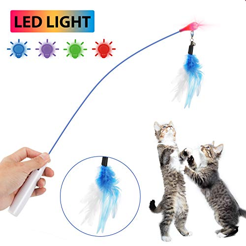 (WINGPET Interactive Cat Wand Toy with Spinning Feather, Twinkle Light and Small Bell, Fun Exerciser & Teaser for Kitten or cat)