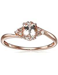 10k Rose Gold Morganite and Diamond Accented Ring, Size 7