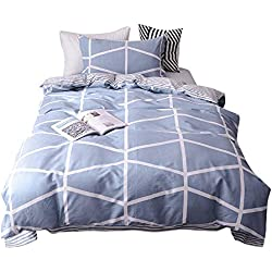 BuLuTu Plaid Grid Kids Duvet Cover Sets Twin Hypoallergenic Lightweight New Bedding Collections Zipper Closure Kids Boys Girls