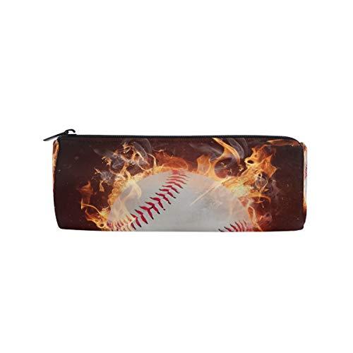 TropicalLife Fire Baseball Sport Pencil Case with Zipper Pen Pouch Makeup Bag for School Office