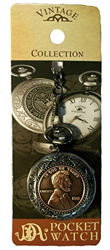 CIVIL WAR ABRAHAM LINCOLN 16TH PRESIDENT PENNY POCKET WATCH VINTAGE COLLECTION