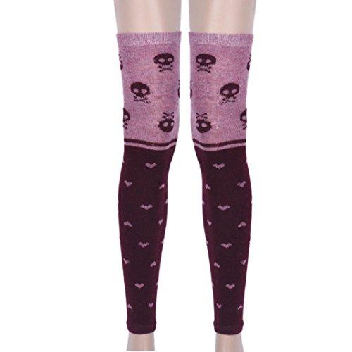 Voberry Women Girl Thigh High Cute Skull Pattern Boot Cuffs