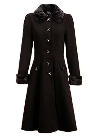 Amazon.com: Women's Black Faux Fur Collar Vintage Dress