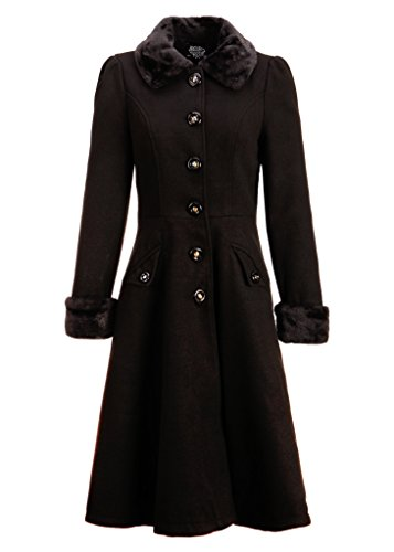 Women's Black Faux Fur Collar Vintage Dress Coat Winter Jacket - Size X-Large
