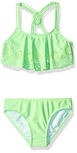 Price comparison product image Freestyle Big Girls' Flounce Laser Cut Madallion Bikini Swimsuit, Green, 10