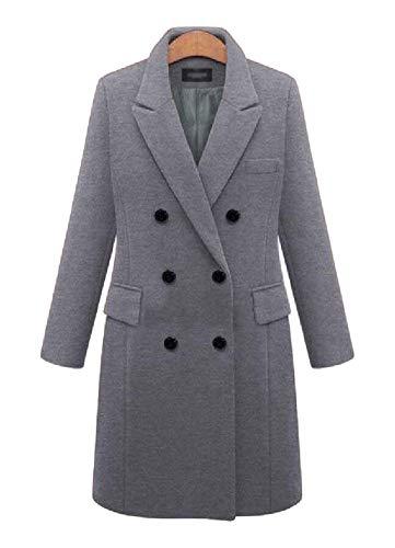 Boutonnage Qualité Haute Taille Double Vintage Elégante Manteau Warm Coat Chic Grande Outwear Mode Grau Manches Revers Laine Hiver De Longues Manteaux Parka Femme Épaisseur wn4UqHO4