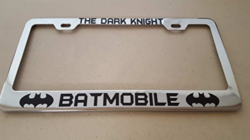 Batman The Dark Knight Batmobile Black Vinyl Decal Cut on Chrome Metal License STB Frame with matching color screw caps