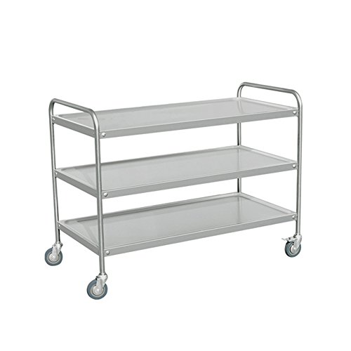 EQ Kitchen Line S3R105 EQ Silver Utility Stand Service Trolley Cart, 3 Shelve, 37.6