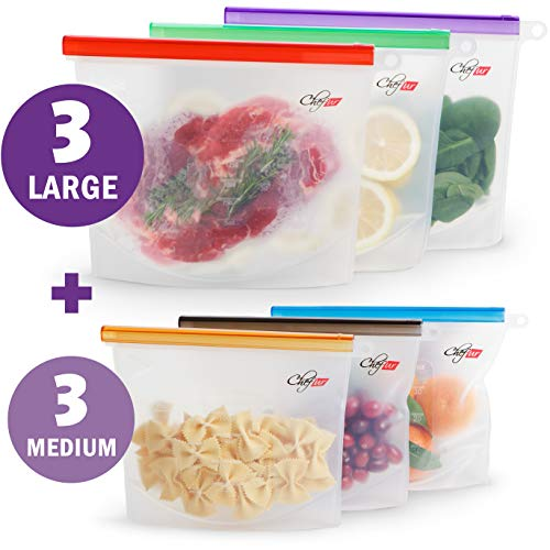 Reusable Silicone Food Bag 6 pack - Sandwich, Sous Vide, Lunch, Snack, Ziplock Airtight Seal Storage, Cooking & Freezer, Eco BPA Free Ziploc Bags, Plastic Savers, Silicon Containers 3 large + 3 medium