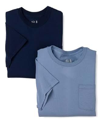 Fruit of the Loom Men's  Pocket Crew Neck T-Shirt,Blue/Navy,Medium(Pack of 2)