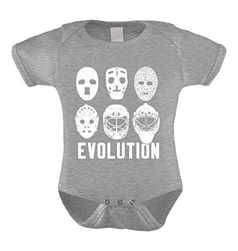 Evolution of Hockey Masks Infant Bodysuit (Light Gray, 12 Months)