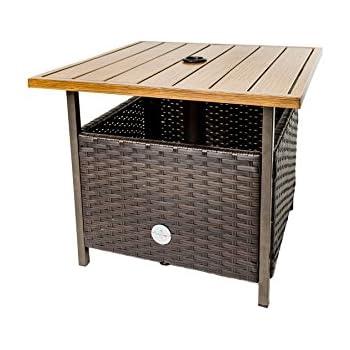 Amazon Com Wicker Umbrella Side Table Stand Garden Outdoor
