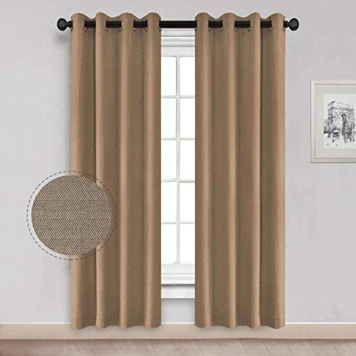 North Hills Herringbone Textured Curtains, Taupe Curtains Room Darkening Wool Look Thermal Insulated Drapery and Curtain for Bedroom (96 Inch 1 Panel, Sand)