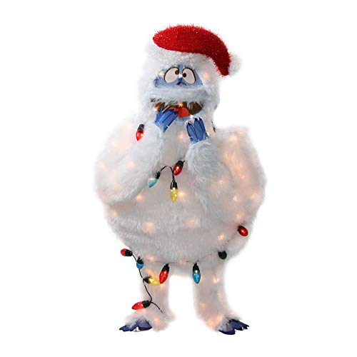 """ProductWorks Pre-Lit Faux Fur Bumble with Light Strand Christmas Yard Art Decoration and Clear Lights, 32"""""""