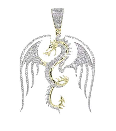Midwest Jewellery Dragon Pendant 10K Gold and Diamond 0.86CTW Mens Fancy Diamond Charm 2 Inch ()