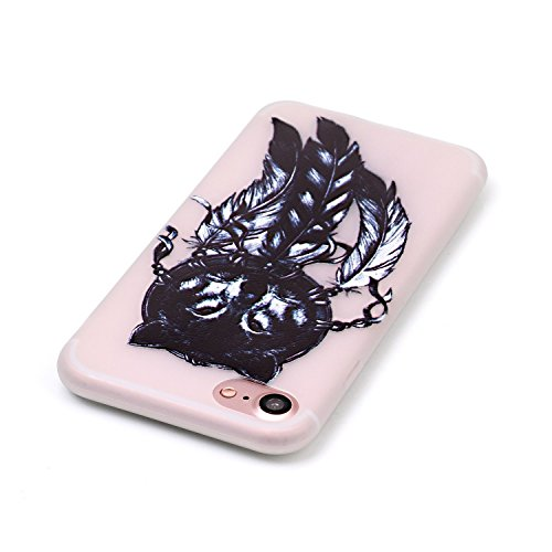 Coque Etui iPhone 7 / 8 , Leiai Hiboux Noir Silicone Gel Case Avant et Arrière Intégral Full Protection Cover Transparent TPU Housse Anti-rayures pour Apple iPhone 7 / 8