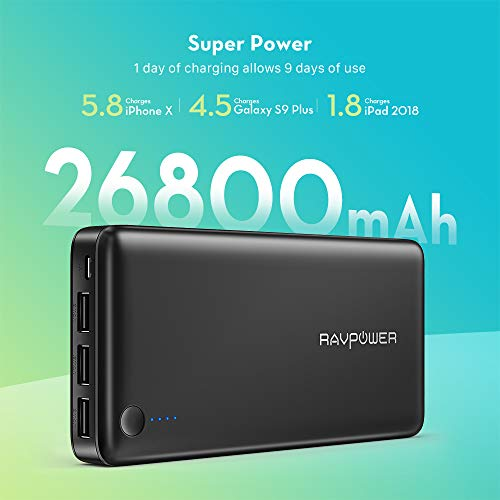 Power Bank RAVPower 26800mAh Portable Charger 26800 Total 5.5A Output 3-Ports External Battery Pack Portable Phone Charger Compatible with iPhone 11/Pro/Max/8/X/XS, iPad, Samsung, Other Smart Devices