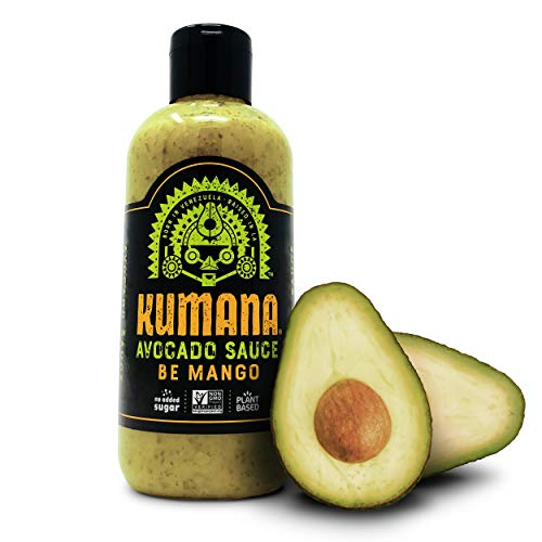 Kumana Avocado Sauce - Spicy Mango. A Keto Friendly Sauce with Ripe Avocado, Mango and Jalapeno Chili Peppers. Ketogenic and Paleo. Gluten Free, No Added Sugar and Low Carb. 13.1 Ounce Squeeze Bottle.