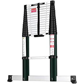 Toolitin 15.5FT Telescoping Ladder with Stabiliser Bar,Slow Down Design Aluminum Telescopic Extension Ladder, One Button Retraction Multi-Purpose Collapsible Ladder, 330 Lb Capacity