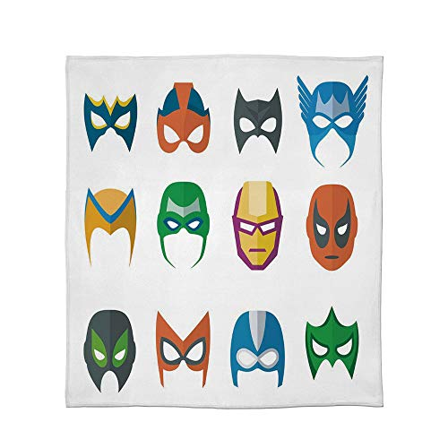 YOLIYANA Super Soft Blanket,Superhero,for Camping Bed Couch,Size Throw/Twin/Queen/King,Hero Mask Female Male Costume Power Justice]()