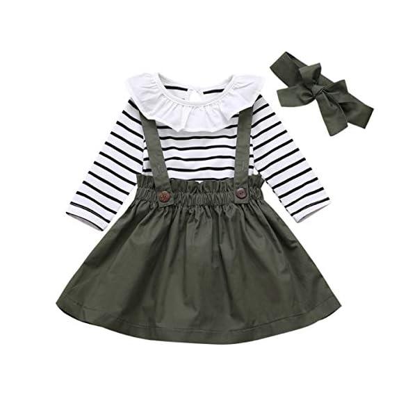 DaMohony - set di vestiti per bambina a maniche lunghe, pagliaccetto a righe, gonna con bretelle e fascia, per bambina… 1