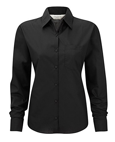 Russell Collection Ladies Long Sleeve Easy Care Poplin Shirt 3XL Black
