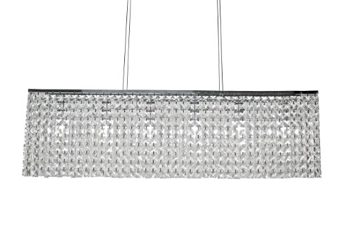 40-inch Rectangular Chrome Crystal Chandelier Lighting Pendant (Linear Crystal Chandelier compare prices)