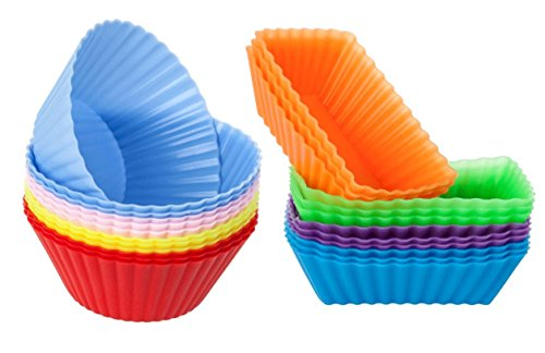 Cutequeen Trading 24pcs (12pcs Round and 12pcs Rectangular) Silicone Baking Cups / Cupcake Liners - 24-pack Vibrant Muffin Molds in Storage Container - Never Buy Paper Cups Again(pack of 24) -
