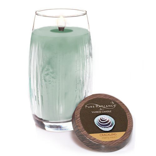 Yankee Candle Merry Mint Large Crackling LumiWick Vase Candle (Glass Candle Oil Unity)