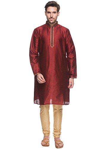 Shatranj Men's Indian Ethnic Fine Embroidered Placket 2-Pcs Suit Set; Maroon; LG by Shatranj