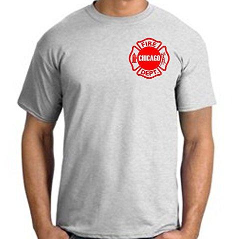 T-Shirt ash, Chicago Fire Dept., rotes Standard-Emblem auf der Brust feuer1