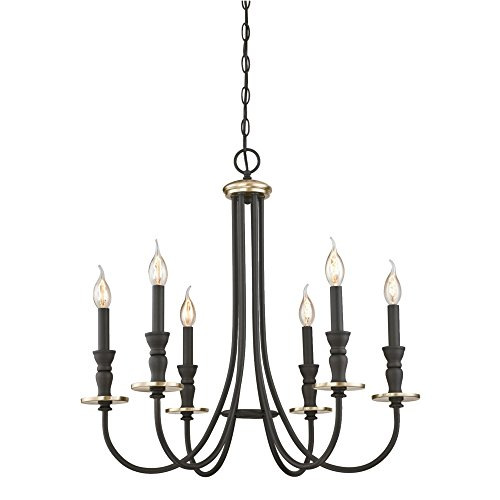 Westinghouse Lighting 6325200 Cresting Six-Light Indoor Chandelier, Oil Rubbed Bronze Finish with Antique Brass Accents ()