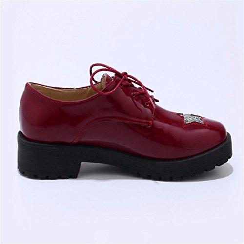 Mujer Zapatos Solo Gules de de Tamaño Caída de Zapatos Lace Tacón Gran de Estrellas Zapatos Profundo 4q64TUCw