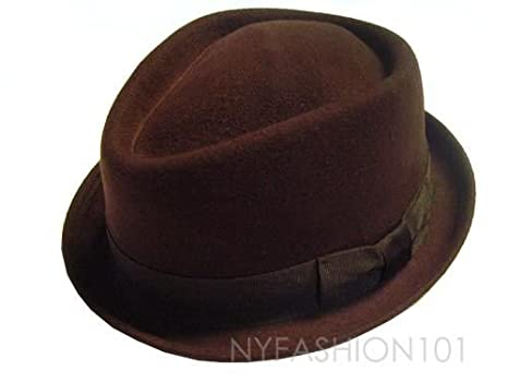 03b62aa9 Mens Stingy Brim Wool Felt Fedora Hat Brown Diamond Shape HE06 (L/XL):  Amazon.co.uk: Clothing