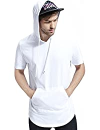 Mens Hipster Hip Hop Elong Longline Hoodie Side Zipper T-shirt
