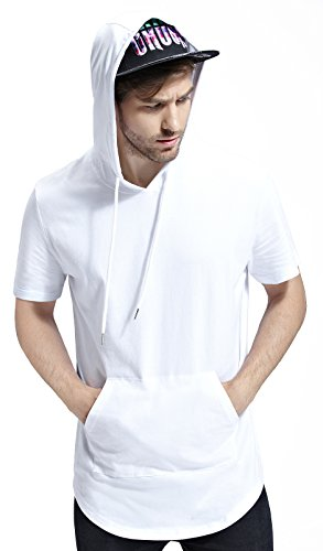 Bertte Mens Hipster Hip Hop Longline Curved Hem Short Sleeve Hoodie Zipper T-shirt , Solid Color White, Medium