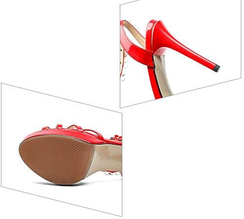 America Fibbia Slim Sandali e LBLX Alto Pelle Donna Tacco da Toe Open Fiori Scarpe Rosso Europa in YHBPxB7wq