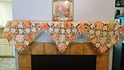 Fireplace Mantel Scarf Embroidered with Multi-Color Orange Fall Leaves Handmade, Size 84 inches wide from DoilyBoutique