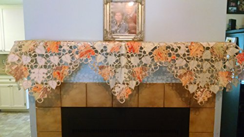 DoilyBoutique Fireplace Mantel Scarf Embroidered with Multi-Color Orange Fall Leaves Handmade, Size 84 inches wide