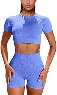 GXIN Women Yoga Set Seamless Workout 2 Piece Outfit High Waist Shorts Tank Top
