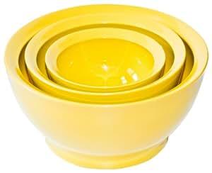 Calibowl Big Sur Stack Set of 3 Plastic Mixing Bowls, Yellow