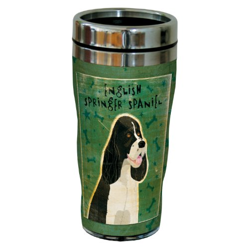 Tree-Free Greetings sg23997 Black and White English Springer Spaniel by John W. Golden 16-Ounce Sip 'N Go Stainless Steel Lined Travel Tumbler
