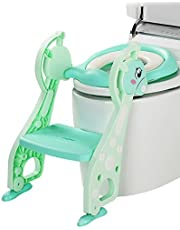Kidsidol Potty Training Toilet Seat with Step Stool Ladder and Soft Cushion for Baby Boy and Girl