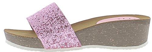 Mules compensées roses à talon de 5cm et plateau de 2cm paillettes