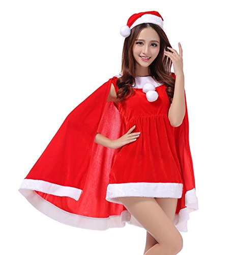 [YFFaye Women's Red Shawl Christmas Tree Shirt Party Dress] (Vintage Halloween Costumes From The 80s)
