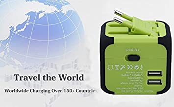 International Travel Power Adapter with 2.4A Dual USB Charger /& Worldwide AC Wall Outlet Plugs for UK AU US Europe /& Asia,Great for iPhone//iPad//Samsung//Smartphone -Built-in Spare Fuse